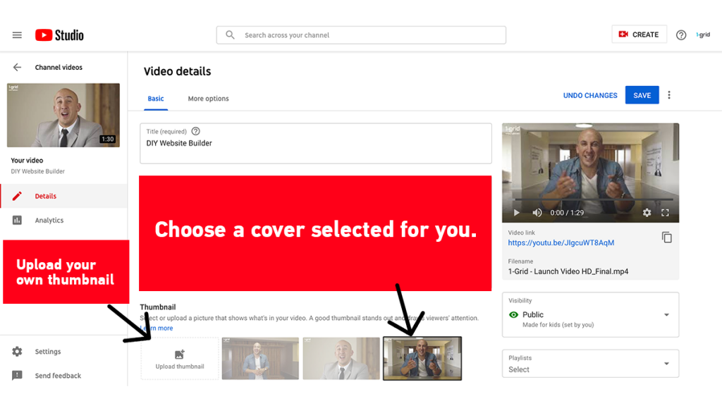 Customise your video's thumbnail