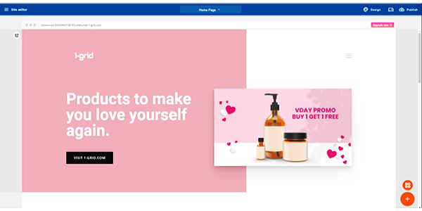 Website customized to incorporate Valentine's Day theme using 1-grid's Website Builder